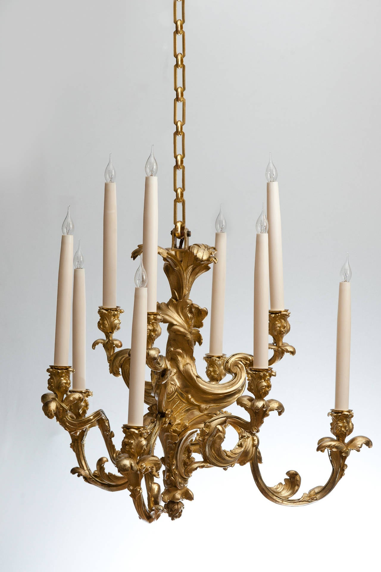 Nine Arm Rococo Gilt Bronze Chandelier For Sale at 1stdibs