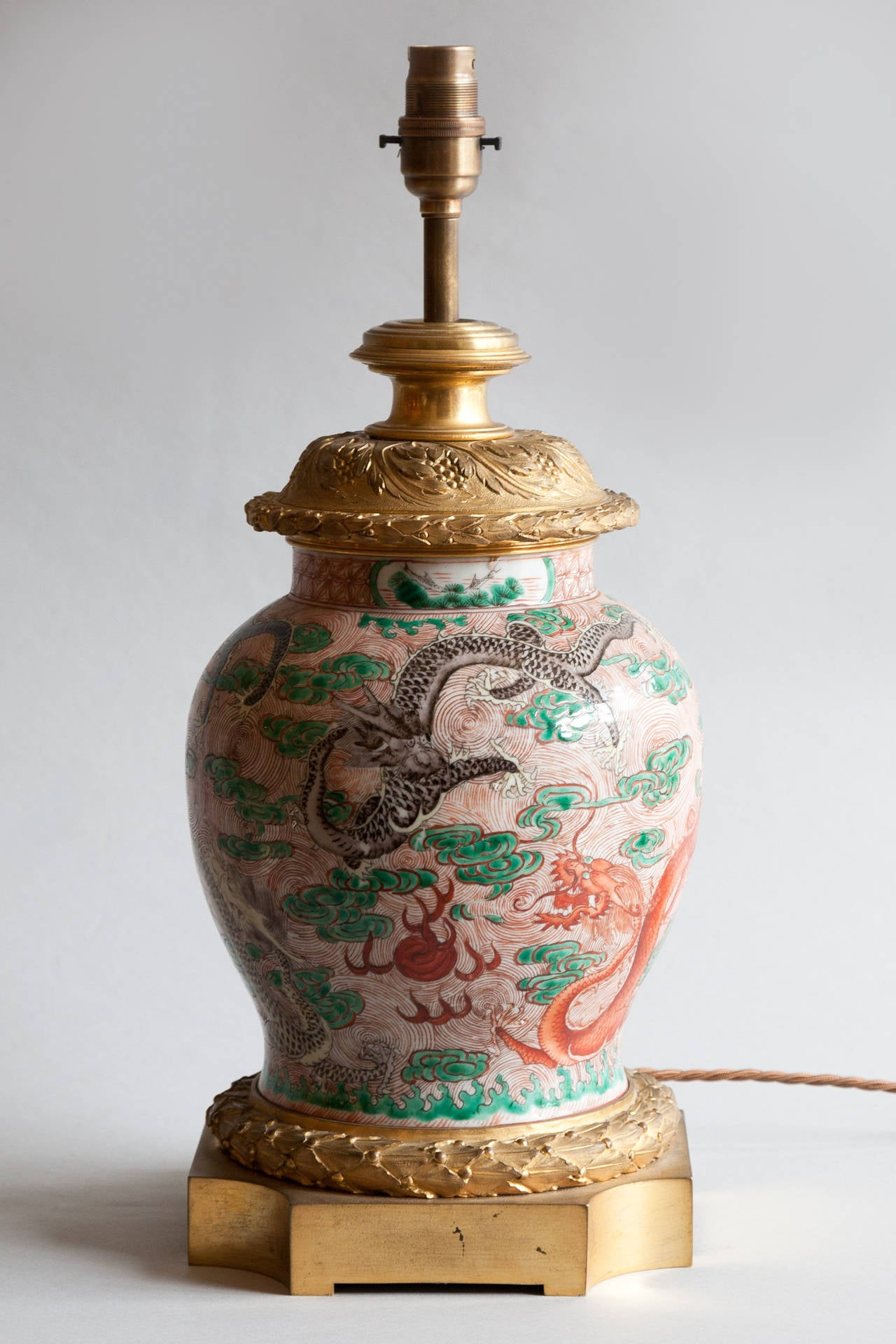 19th Century Famille Rose Chinese Porcelain Lamp With Gilt