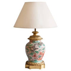 19th Century Famille Rose Chinese Porcelain Lamp with Gilt Bronze Mounts