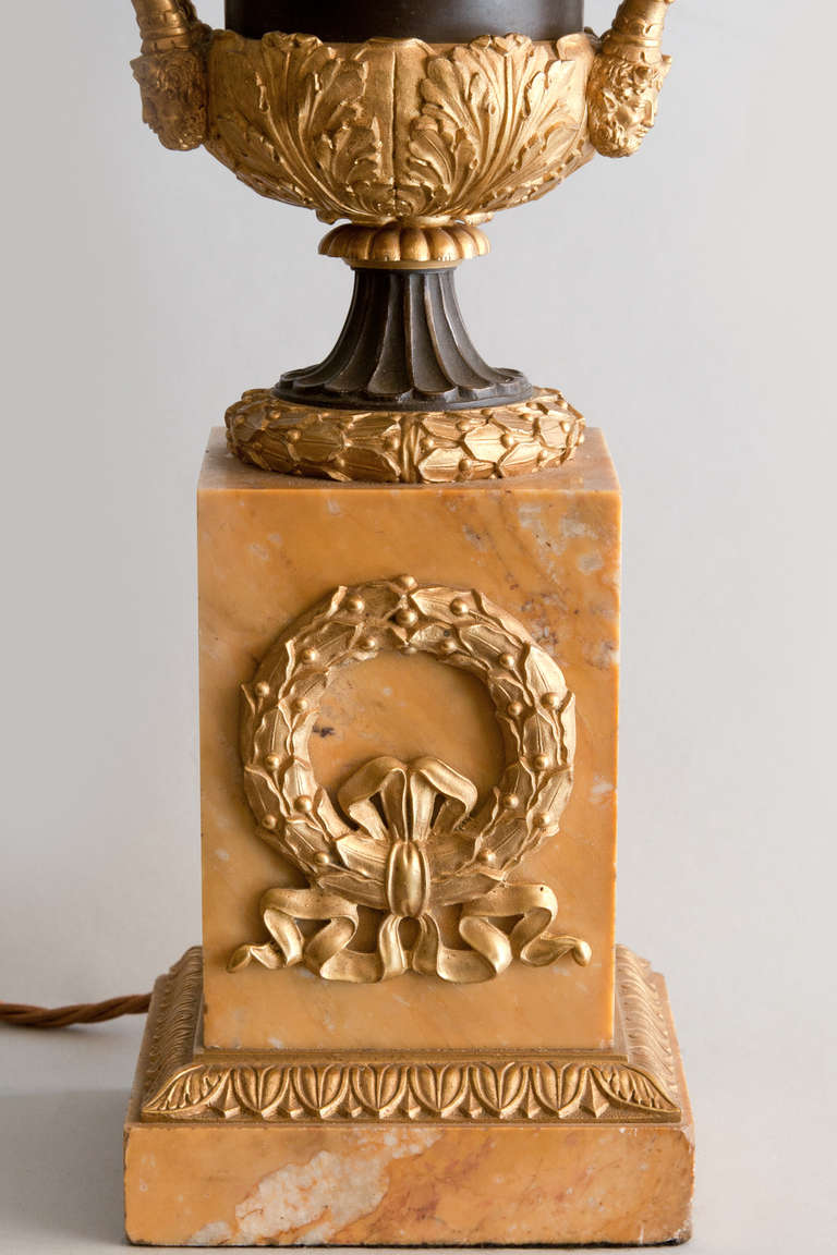 Marble Gilt And Patinated Bronze M 233 Dici Vase Converted To