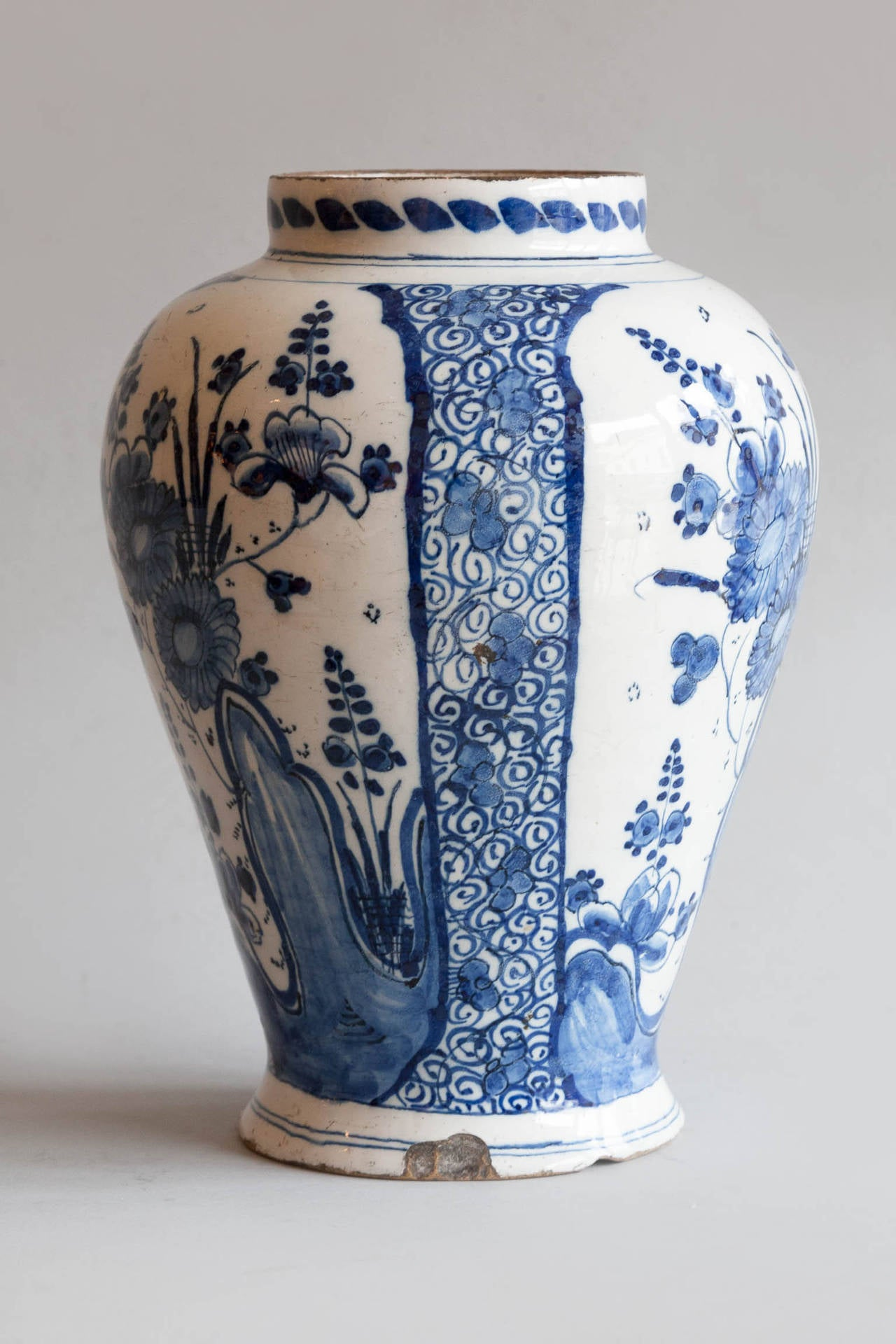 18th century faence baluster delft vase at 1stdibs decorated with flowers and leafy branches in blue and white on a milky white background reviewsmspy