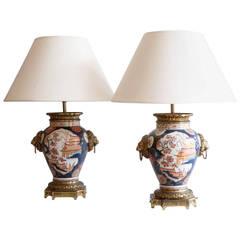 Pair of 19th Century Imari Vases Converted to Lamps