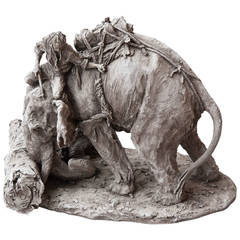 Sculpture of an Indian Elephant with a Mahout in Grey Terracotta