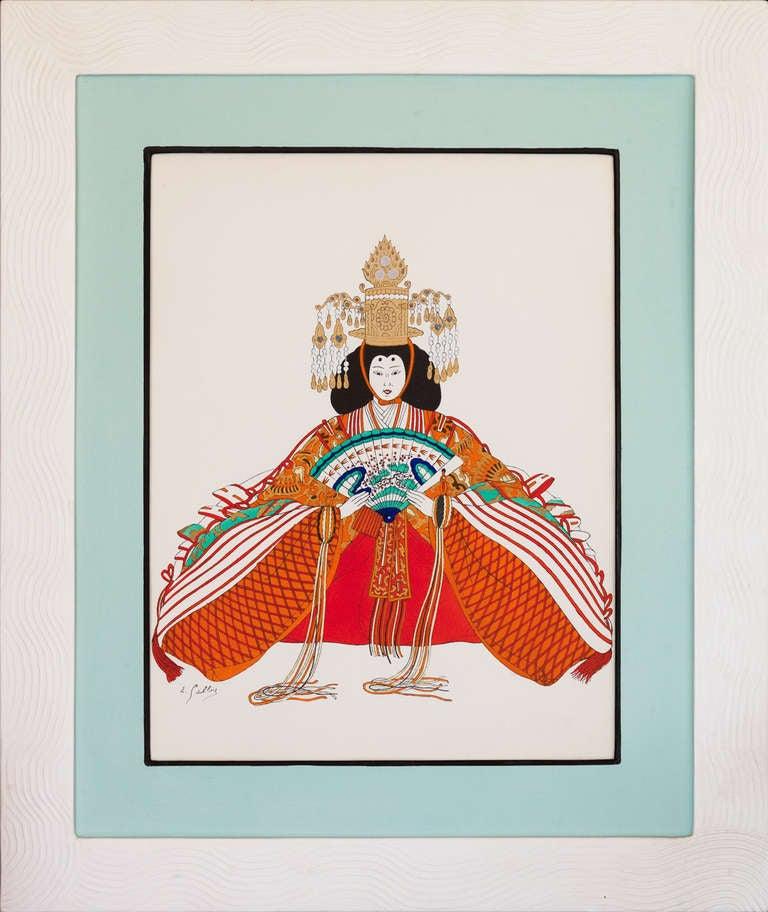 A set of twelve japanese costume pochoir prints in for Pochoir deco