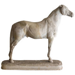 'Étalon Arabe,' 19th Century Plaster Sculpture of a Horse