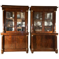 Pair of French Empire Flame Mahogany Bookcases