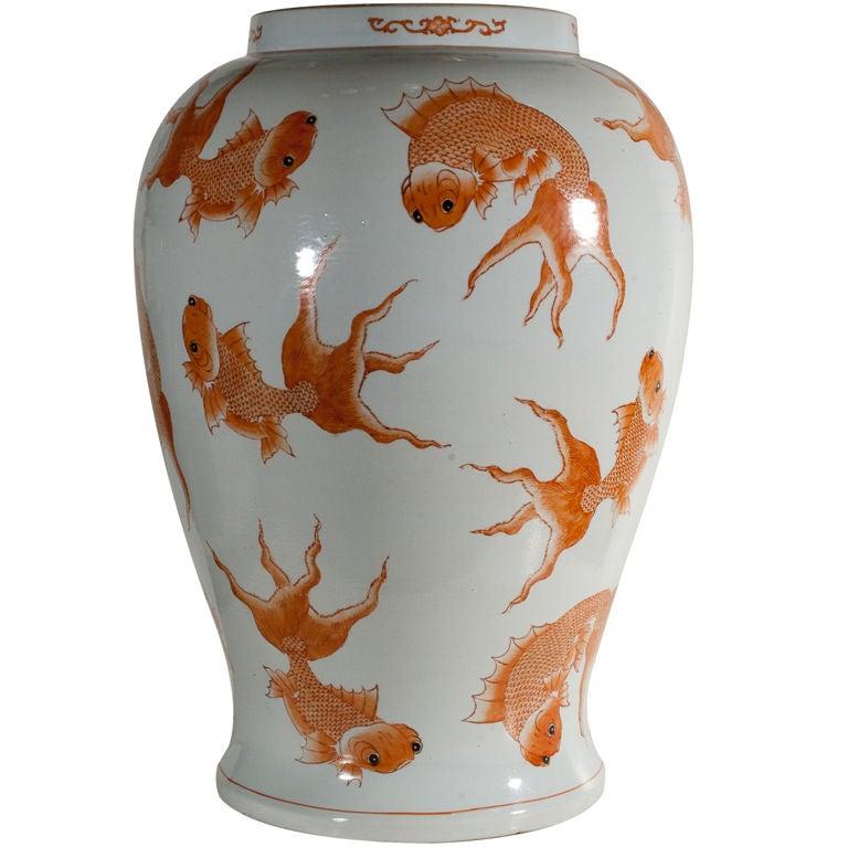 Large Chinese White Glazed Vase With Goldfish 19th Century At 1stdibs