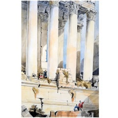 Large Watercolor of Egyptian Ruins