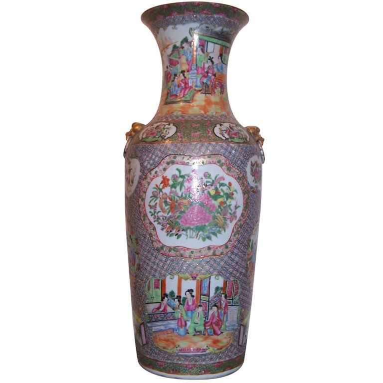 Large chinese famille rose vase at 1stdibs for Oriental vase and furniture