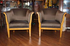 Pair of Swedish Birchwood Chairs