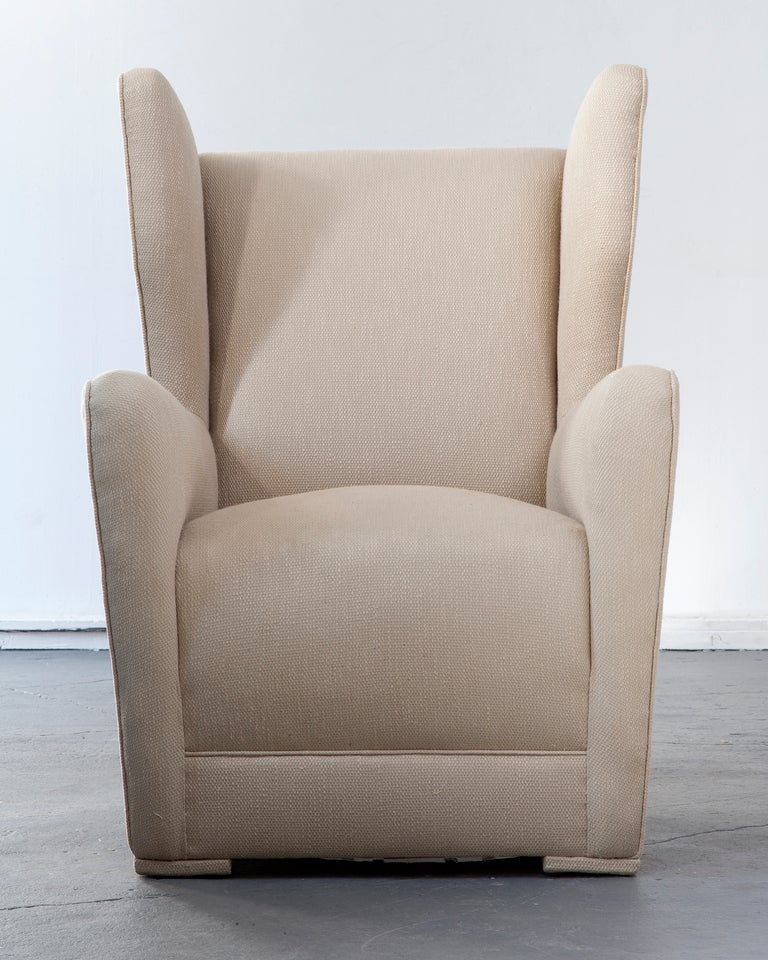 Unique Upholstered Wing Back Lounge Chair At 1stdibs