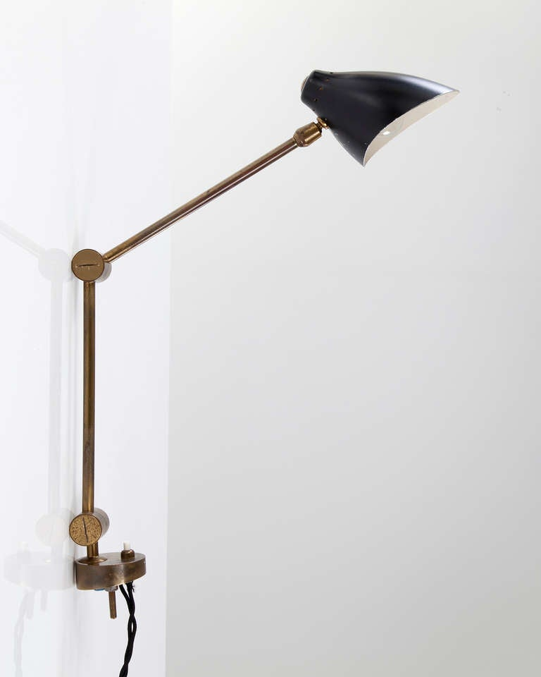 wall mounted lamp with pivoting shade at 1stdibs. Black Bedroom Furniture Sets. Home Design Ideas