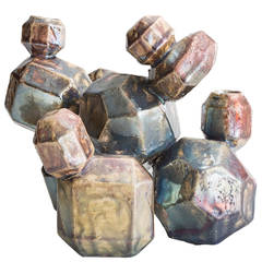 Cluster 11 from Cluster Series in Ceramic with a Raku Glaze, Made by Kelly Lamb