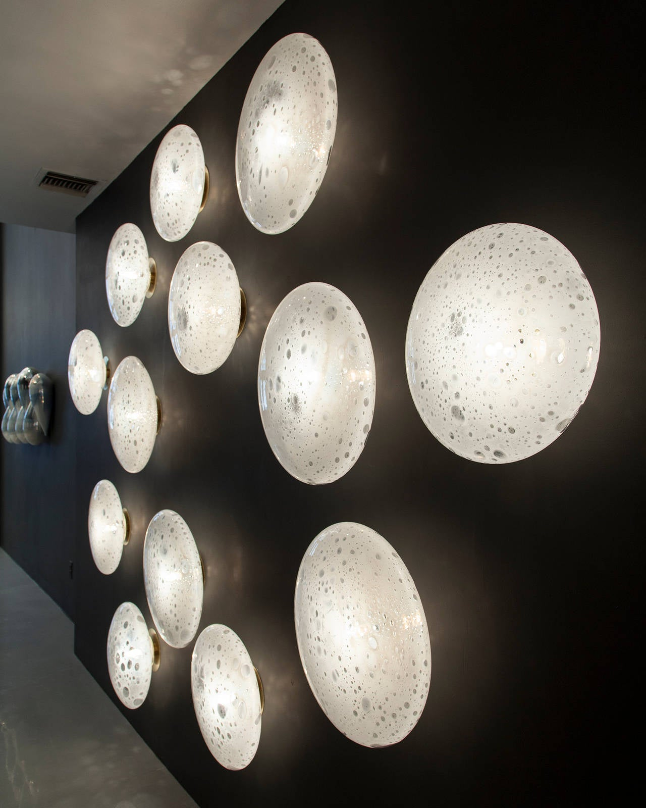 Jeff Wall Light Bulbs : Unique Full Moon Wall-Mounted Glass Illuminated Sculpture, by Jeff Zimmerman at 1stdibs