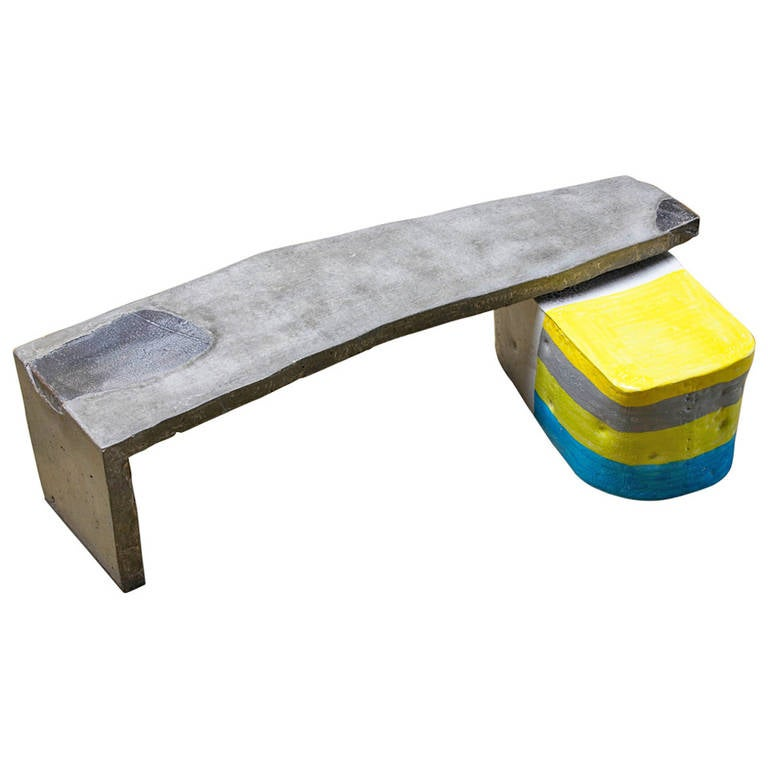 Oblong Concrete Table With Colored Glazed Ceramic Stool By Hun Chung Lee 2011 At 1stdibs