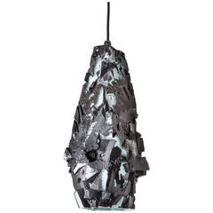 Unique Facet Glass Assemblage Pendant Hanging Lamp by Thaddeus Wolfe