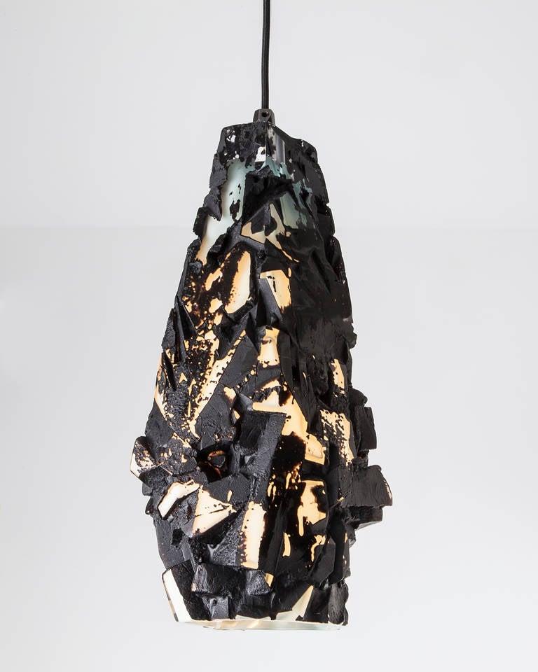 Unique Facet Glass Assemblage Pendant Hanging Lamp By
