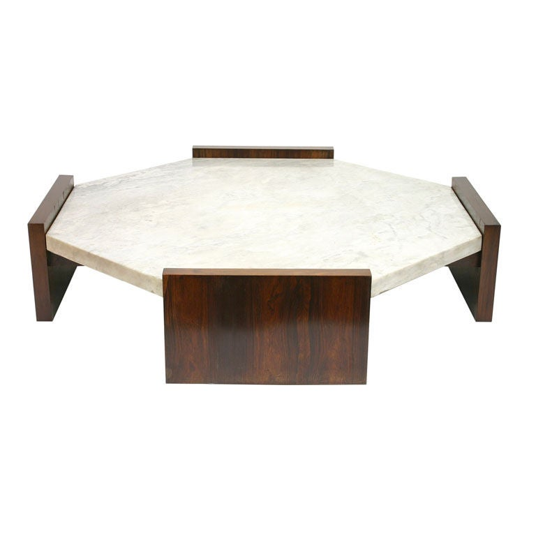 Large octagonal coffee table by joaquim tenreiro at 1stdibs for Octagon coffee table