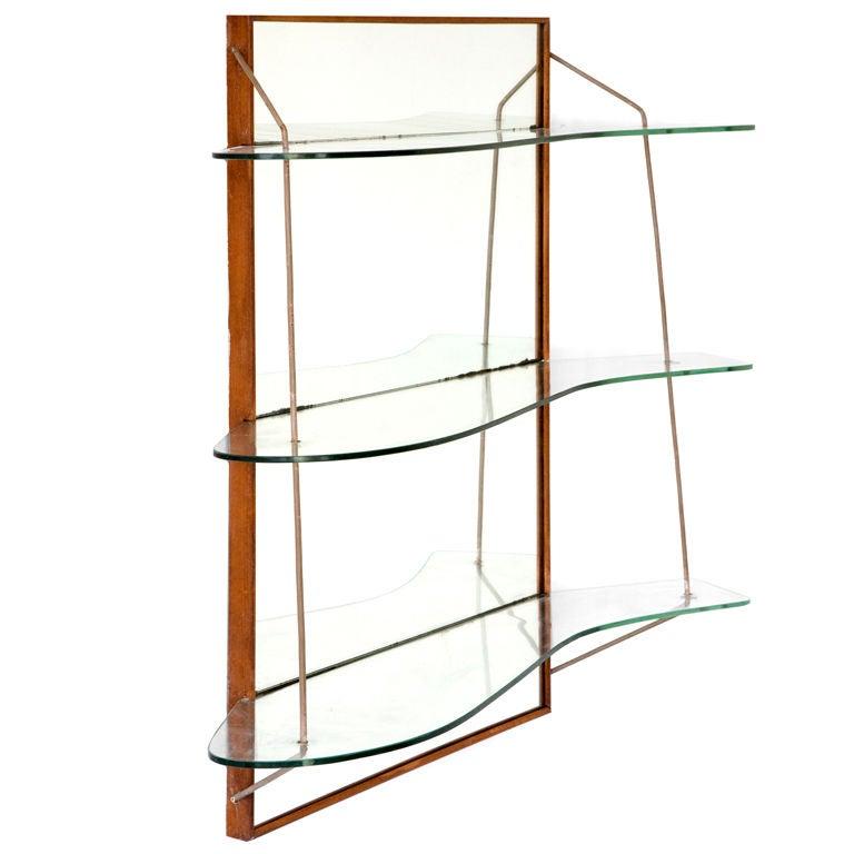 wall mounted shelving unit by joaquim tenreiro at 1stdibs. Black Bedroom Furniture Sets. Home Design Ideas