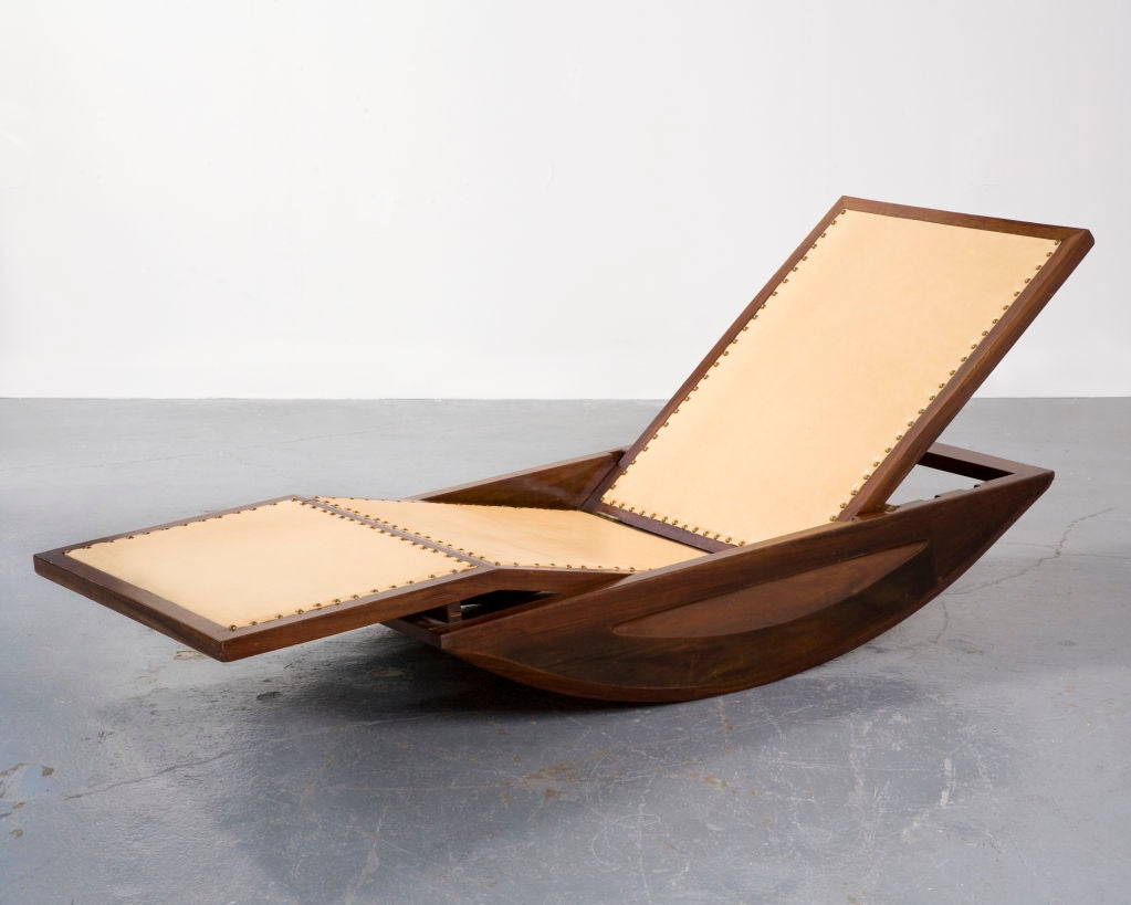 chaise longue rocking chair by joaquim tenreiro at 1stdibs. Black Bedroom Furniture Sets. Home Design Ideas