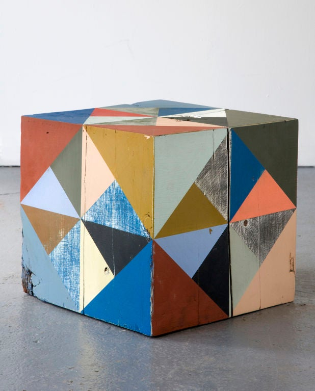 Extra large hand-painted reclaimed wood block sculpture. Designed and made by Serena Mitnik-Miller, USA, 2011.