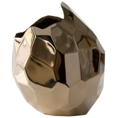 Unique small polished facet vase by David Wiseman