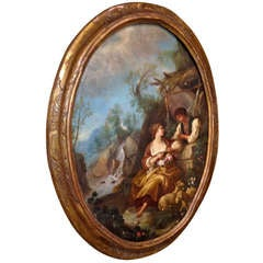 Large Oval French, 18th Century Genre Painting