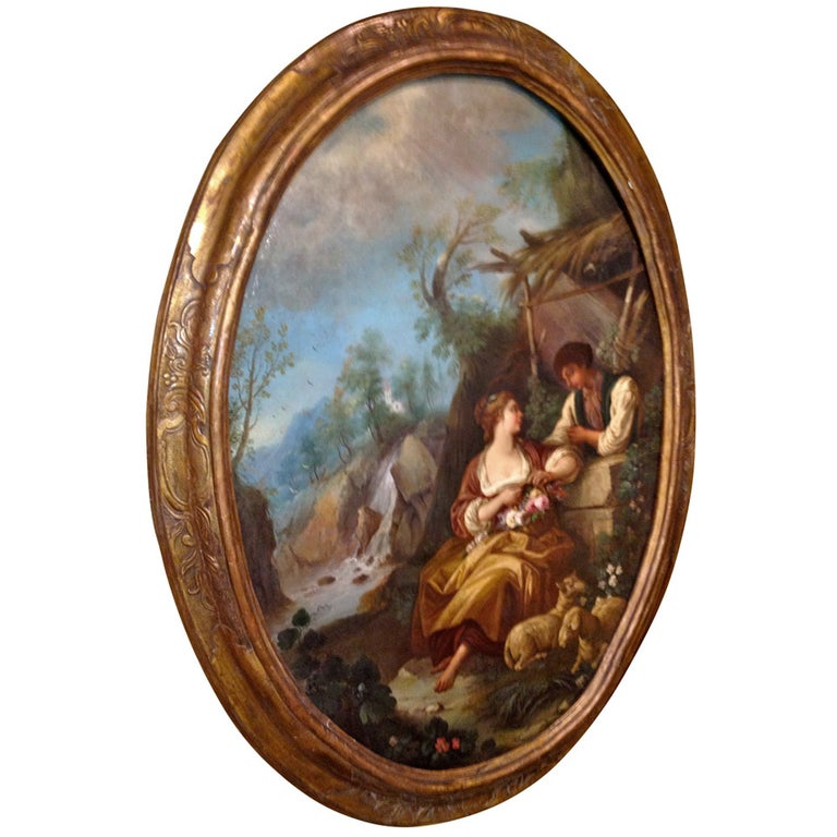 Large Oval French, 18th Century Genre Painting For Sale