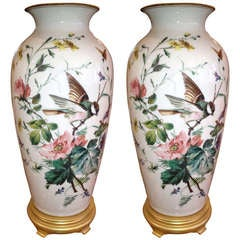 Pair of French 19th Century Milk Glass Vases as Lamps