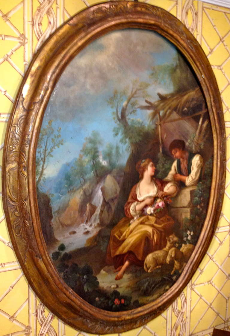 oval office paintings. Large Oval French, 18th Century Genre Painting. Office Paintings