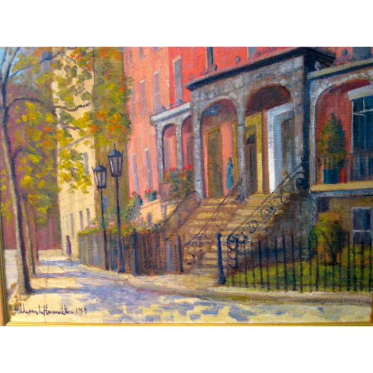 "American, Oil on Canvas, ""Washington Square, New York City"""