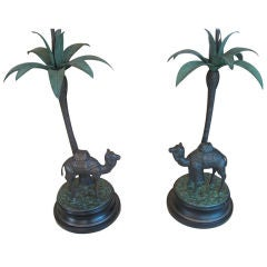 Pair of Italian Painted Bronze Camel with Palm Tree Lamps
