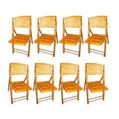 French Late 19th Century Set of Eight Bamboo and Folding Chairs