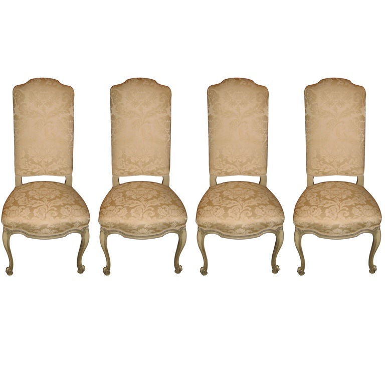 Set of Four French High Back Upholstered Painted Chairs