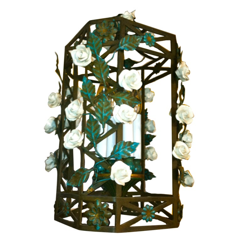 French Tole and Porcelain Lantern
