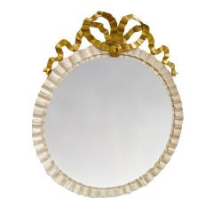 19th Century Swedish Round Painted and Gilt Bow Mirror