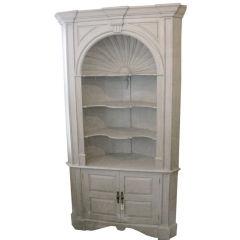 American Swedish White Painted Corner Cabinet