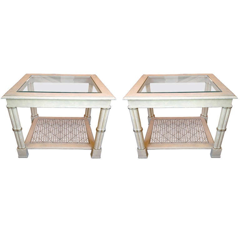 Pair Of American Bamboo End Tables