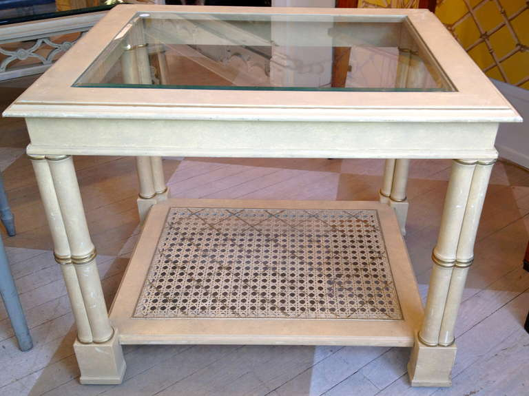 Pair of American painted bamboo end tables.