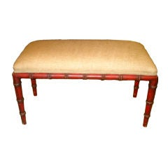 19th Century English Painted Red Bamboo Bench