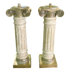 Pair of Italian Bronze and Wooden Column Lamps