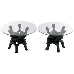 Pair Figural Carved & Ebonized African Interlocking Side Tables