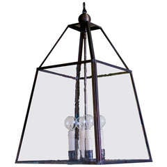 "American Hand-Crafted Custom ""Scioto"" Brass and Glass Ball Top Lantern"