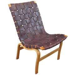Bruno Mathsson Armless Eva Chair in Leather Strapping