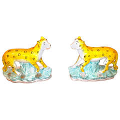 19th Century English Staffordshire Leopards