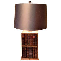 19th Century French Leather Book Box as a Lamp with Silk Shade