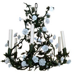 French19th Century Tole and St Cloud Porcelain Chandelier