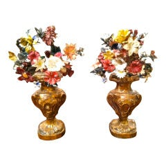 19th Century French Painted Tole Flowers in Giltwood Bases