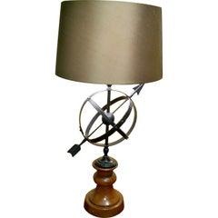 Mid Century Italian Tole Armillary Lamp on Wooden Base