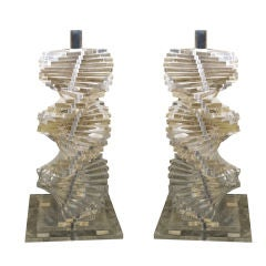 Pair of American Lucite Lamps
